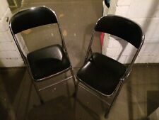 2 Stück Klappstuhl Klappstühle Kunstleder 2x Stühle Stuhl silber-schwarz