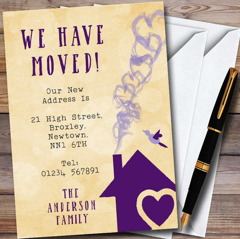 Gelb & lila Heart House House House New Home Change Of Address Moving House Cards 95c051