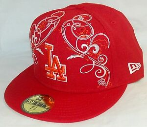 NEW Era 59fifty LOS ANGELES DODGERS Baseball Hat RED & WHITE cap SIZE 7-3/8 MLB
