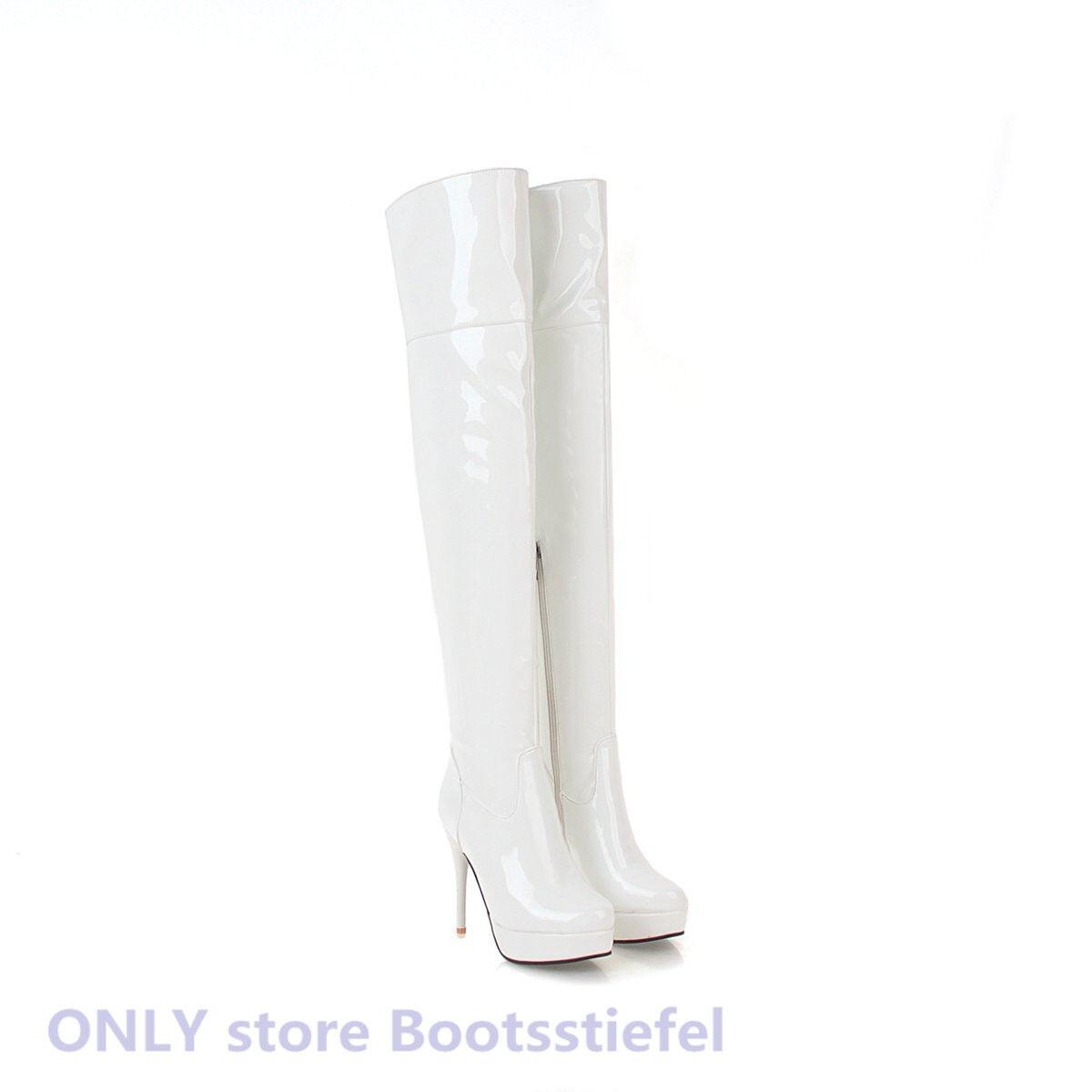 Gr.32-48 Damenschuhe Sexy Damenschuhe Gr.32-48 Lackleder Overknee Stiefel Plateau Heels Stiefeletten a28e76