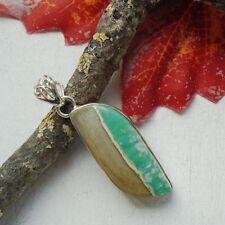 Australischer Variscit, grün - beige, Amulett, Anhänger, Silber plattiert, neu