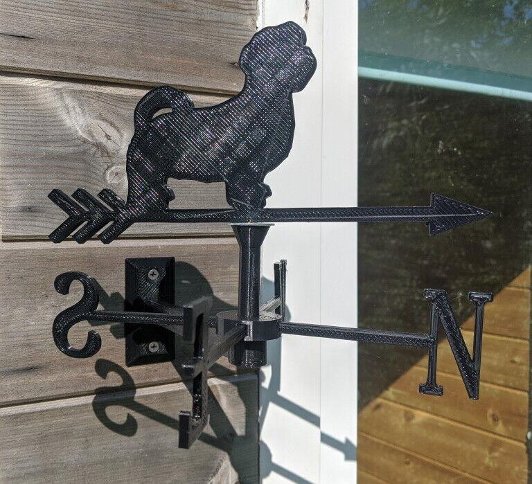 Shih Tzu Dog Acrylic Garden Weather Vane Wall, Pole or Post Mounted
