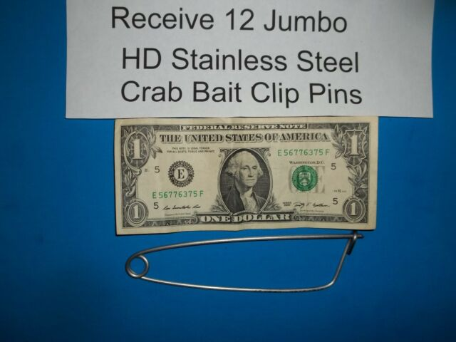12 each Jumbo Crab Bait Clip Pins HD Stainless Steel Trap Net Line CrabHoudini
