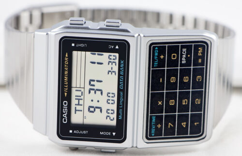 1 of 1 - Casio DBC-611-1 Databank Calculator Watch Stainless Steel Band 5 Alarms New