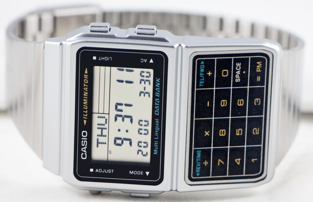 Casio DBC-611-1 Databank Calculator Watch Stainless Steel Band 5 Alarms New