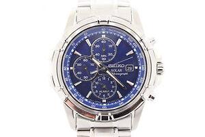 Men-039-s-Seiko-SSC141-Stainless-Steel-Bracelet-Blue-Chronograph-Solar-Dial-Watch