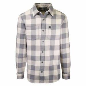 Harley-Davdson Men's No. 1 Grey Cream Plaid L/S Woven Shirt (S40)