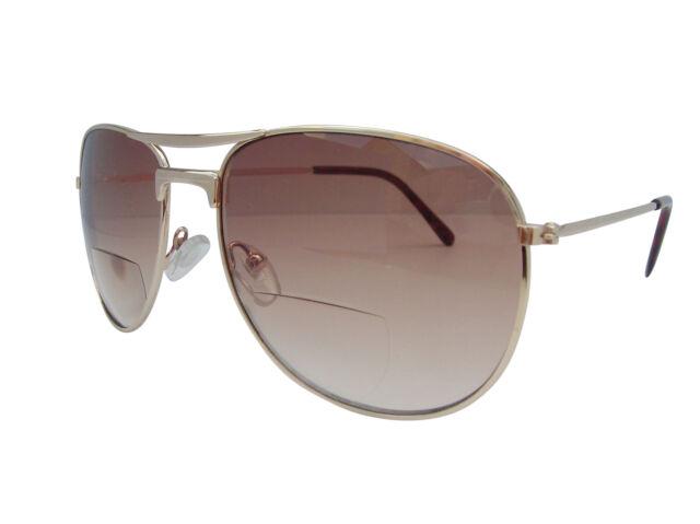 Bifocal Pilot Style Designer Sunglasses Tinted Sun Readers Gold UV Protect c4e00d0be2