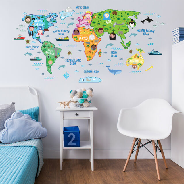 Map Of The World Decal.Mural Wall Sticker Decal World Educational Decoration Nursery Map