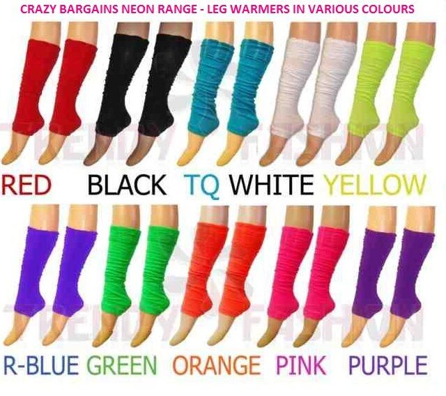 80's Rave Fancy Dress Dance Neon Rouge Top Legwarmers Adults & Teenagers
