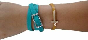 Rush-Turquoise-Blue-or-Pink-Leather-Wrap-Belt-Bracelet-w-or-w-o-Bling