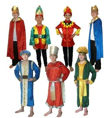 Kids Wise Man Costume Blue Christmas Nativity Three Kings Outfit