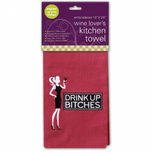 """/"""" Drink Up Bitches /"""" Waffle Embroidered Kitchen Dish Hand Towel Chris/'s Stuff"""