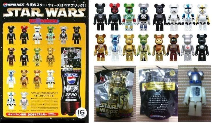 Rare Medicom 2008 Pepsi Star Wars 70% BE@RBRICK Bearbrick Figure 16 pcs