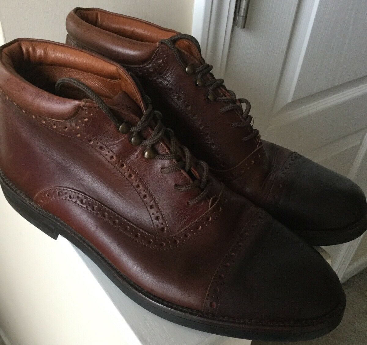 Johnston & Murphy Made in  11.5 M herren braun braun braun leather Stiefel Cap Toe Design bf3fe9