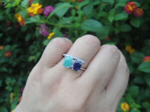 Natural-SAPPHIRE-amp-EMERALD-Birthstone-amp-white-CZ-925-STERLING-SILVER-RING-S8-75