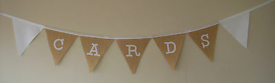 Entusiasta Hessian & Ivory Tessuto Banner Per Le Carte Matrimonio Decorazione Avorio Nastro & Lettere- Imballaggio Di Marca Nominata