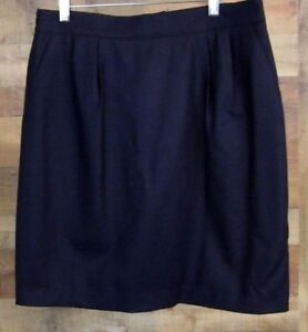 b5eae9ce86cae Sag Harbor Womens Petite Navy Blue 100% Wool Skirt Size 14P A-Line ...