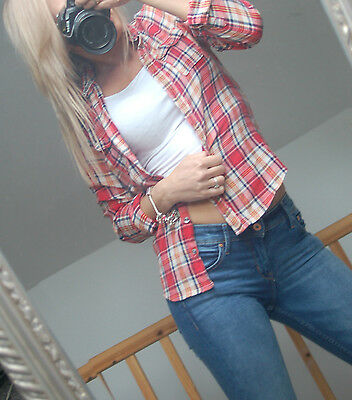 HOLLISTER women checked  shirt  great for autumn size S   8-10 UK  36-38 Eur