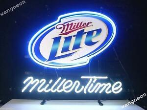 New miller lite miller time beer bar real glass neon light sign fast image is loading new miller lite miller time beer bar real aloadofball Gallery