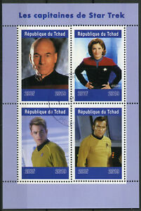 Chad-2019-CTO-Star-Trek-Captains-Kirk-Picard-Janeway-4v-M-S-TV-Movies-Stamps
