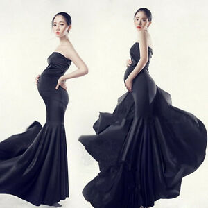 a3d29c01f4dcb Image is loading HOT-Maternity-Dresses-Photography-Props-Pregnant -Black-Mermaid-