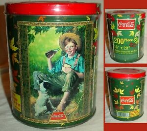 ROCKWELL BOY w DOG  PUZZLE in TIN  COCA COLA 200pc SPEC. EDITION 1998