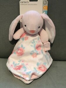 CARTERS OS Plush LAMB BLANKET Rabbit PINK Rattles Baby PACIFIER HOLDER White Toy