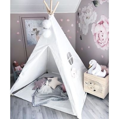 sale retailer e243d 6172f Kids Teepee Play Tent 100% Cotton Canvas Tipi Playhouse Indoor Room Toys  For Kid | eBay
