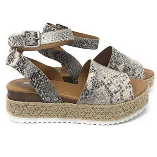 Damen Espadrilles Leopard Keil Plattform Schuhe Sommerschuhe Gucken Zeh Sandalen
