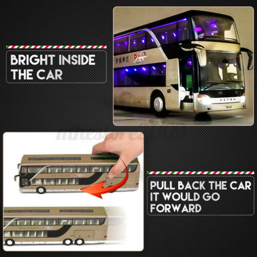 1:32 Alloy Double Layers Tour Bus Pull Back Car Model Sound Light Kids Toy  Ц °
