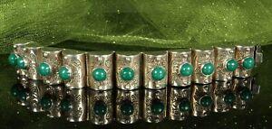 1940s-STERLING-MEXICO-Bracelet-6-5-8-034-CHRYSOPRASE-Gems-56-7g-Barrel-Panels-FAB