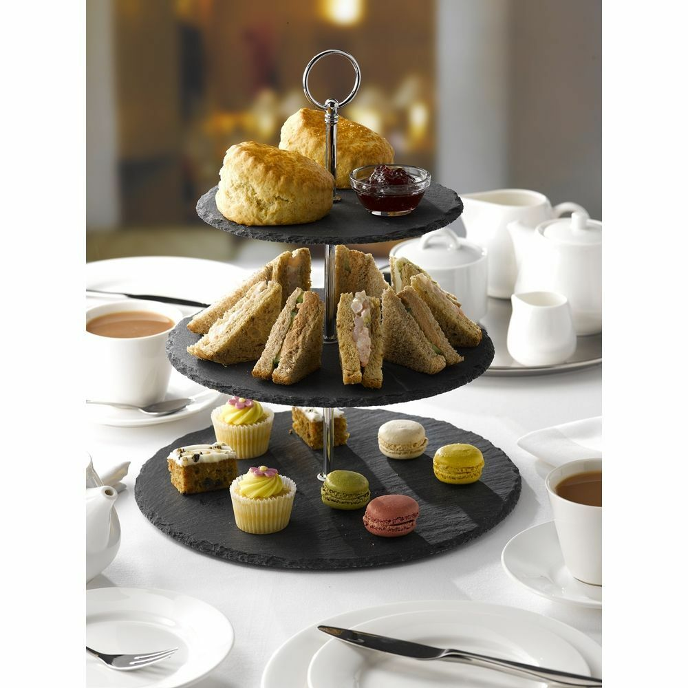 3 niveau naturel ardoise cake stand thé Mariage plaques Party Tableware