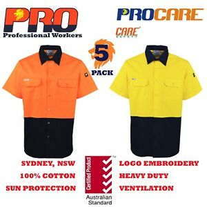 5-pack-Hi-Vis-Work-Shirt-vented-cotton-drill-cutted-short-sleeve-Safety-uniform
