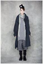 NWOT Japan MOYURU Black Gray Wool Long Sleeve Coat with Side Pocket - O/S