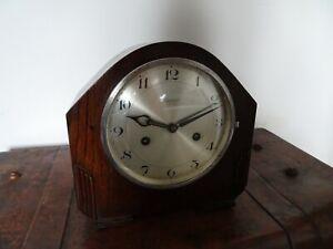 Antique Art Deco 1920s/1930s Ingersoll Oak Mantel Clock -Chime Key & Pendulum