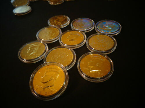 24 KT GOLD PLATED J *LOT OF 4 AIRTIGHT CAPSULE KENNEDY HALF DOLLAR* COIN SET