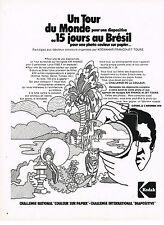 """PUBLICITE  1974  KODAK   challenge national """"couleur papier"""" diapositive"""