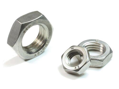 M20 DIN 439 A2 Edelstahl Sechskantmuttern flache niedrige Form Rostfrei 20-500St