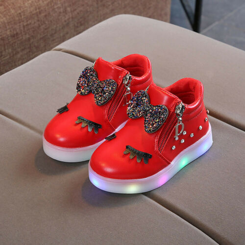 Toddler Kids Baby Girls Crystal Bowknot LED Luminous Boot Sport Shoes Sneakers