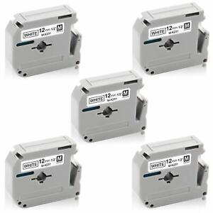 5-PK-M-K231-Black-on-White-Label-Tape-For-Brother-Printer-PT-55BM-8m-12mm-PT65
