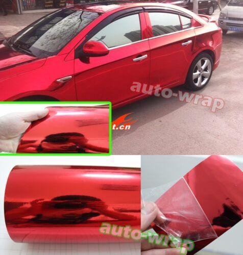 Car Glossy Mirror Red Chrome Vinyl Film Sheet Sticker Decal BO All the Wrap