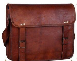 Laptop Vintage Leather Bag Laptop Satchel Handbag Cross body Shoulder Messenger