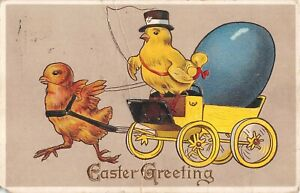 Chick-Wearing-Hat-With-Whip-Drives-Other-Chick-Pulling-Cart-With-Egg-1914-Easter