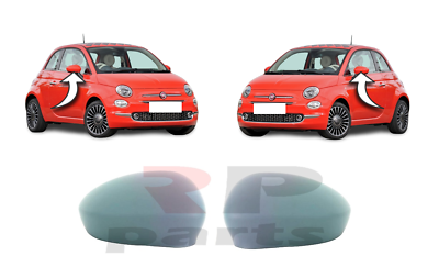 312 FOR FIAT 500 2007-2018 NEW WING MIRROR COVER CAP PRIMED PAIR SET L/&R