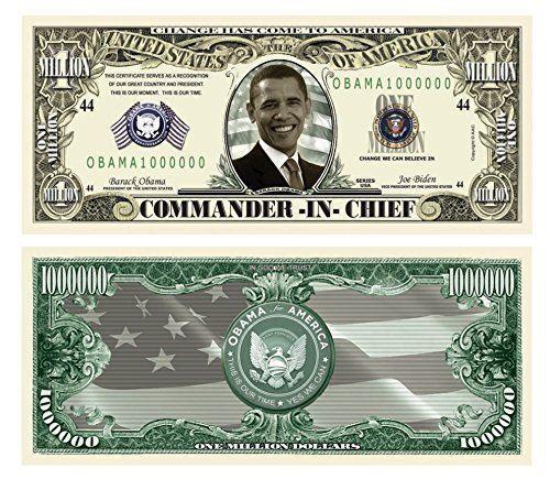 Barack Obama Million Dollar Bill Set of 50