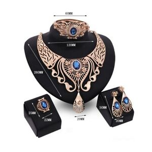 CLEOPATRA-Necklace-BRACELET-Earrings-RING-Set-GOLD-Blue-COLLAR-Costume-JEWELLERY