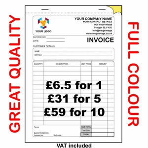 10 x A6 NCR PRINTED RECEIPT INVOICE PADS FULL COLOUR PRINT with FREE DELIVERY!