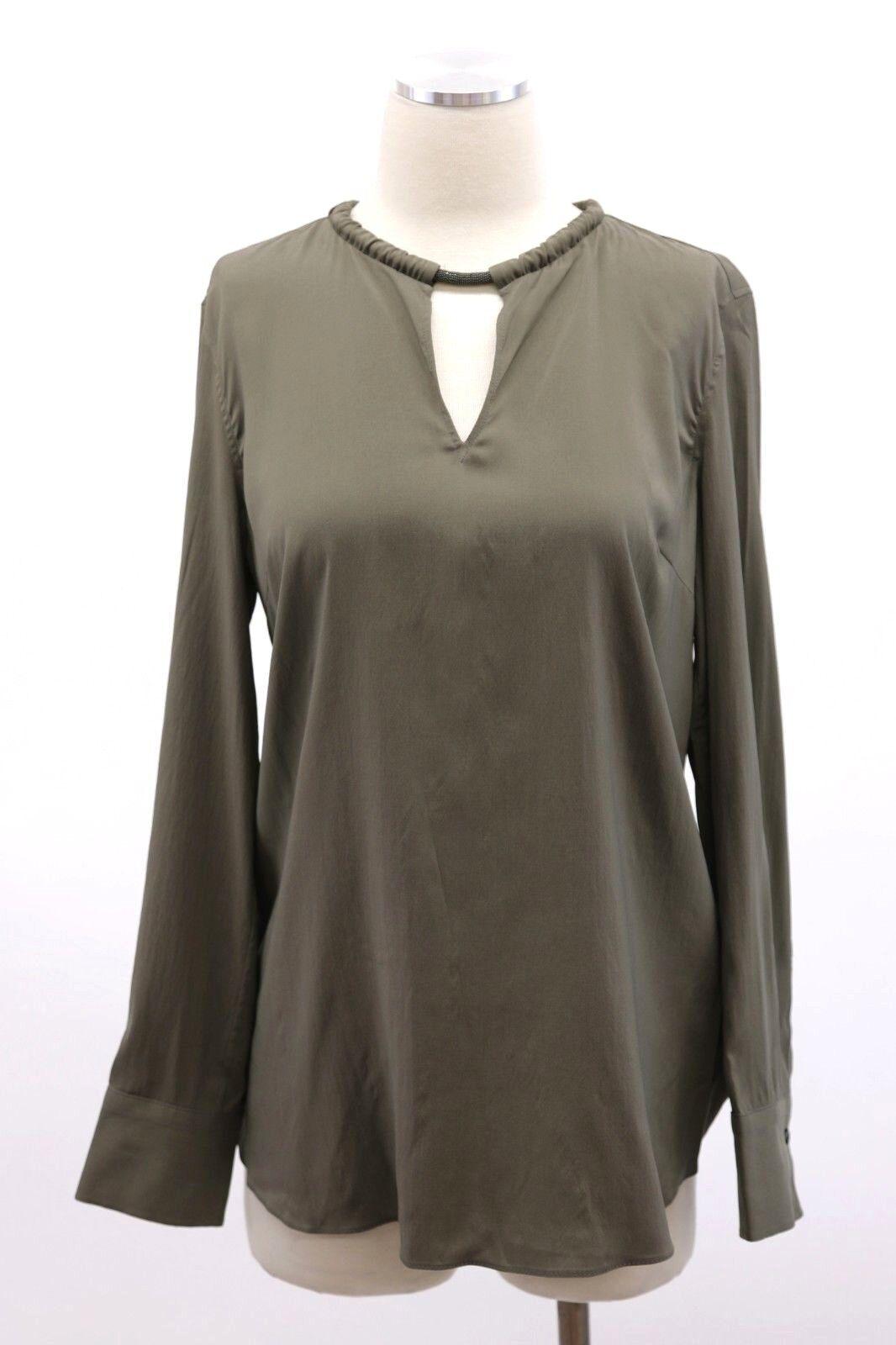 NWT Brunello Cucinelli Women's Silk Monili Collar Beaded Dress Top SzM A181