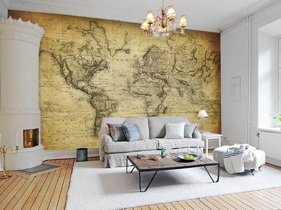 3D Antike Weltkarte 74 Tapete Wandgemälde Tapete Tapeten Bild Familie DE Lemon  | Vielfältiges neues Design  | Stil  | Deutschland München